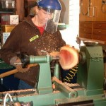 Matha making tenon in preparation for reversing the bowl