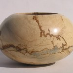"""Spalted (maple?) bowl by Levi Mize: 8""""dia."""