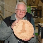 Bob with his chip carved owl on turned platter