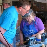 Jim helping Chrystal with small Acacia Baileyana bowl.