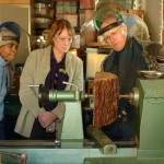 David discussing safety with Angela and Lynda before starting natural edge bowl from half-log