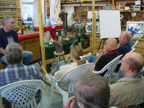 Lyle talked about leveling the lathe with adjustable feet and not turning