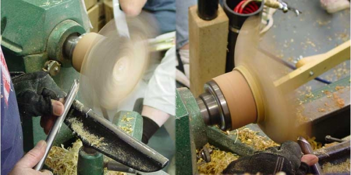 Two views of beginning the cuts inside of the bowl. Since it has a natural edge he is cutting mostly air at the start.