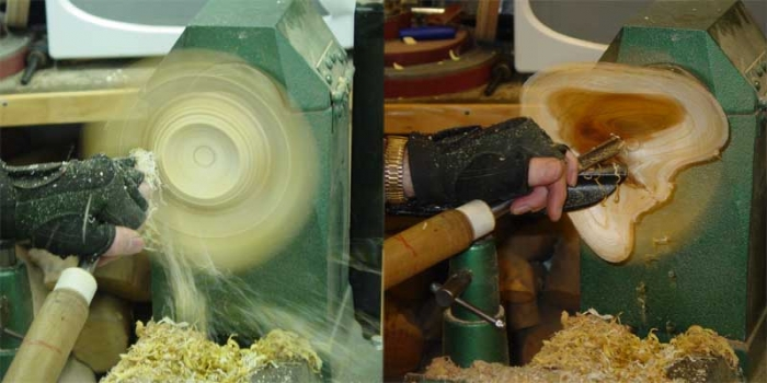 Showing hollowing out the center of the bowl and completing the bottom.