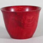 "Jim Rinde - Oak bowl dye with red shoe polish - 4"" H x 5 1/2' Dia."