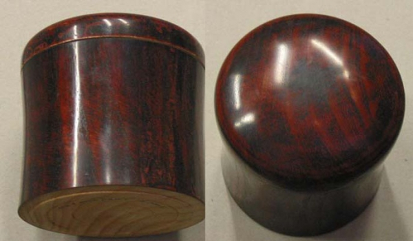 Two views of lidded box with three colors of milk paint