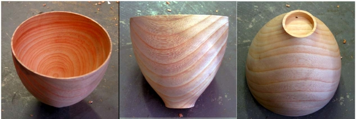 Composite photo of the ash bowl staight from the lathe with no sanding or finishing.