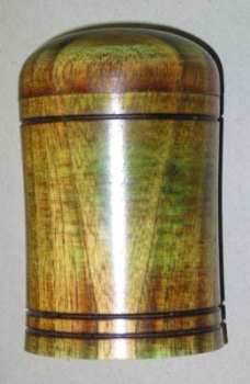 Lidded box with two colors of analine dye: note the wood grain shows thru the dye unlike with the paints