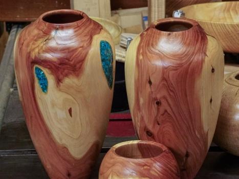 Juniper vases with Malecite inlay