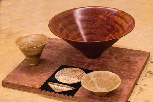 Bowls from boards, large is Bubinga
