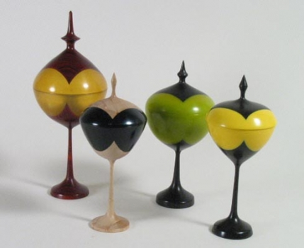 Lidded Goblets - Epoxy and wood