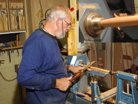 Illustrating spindle turning using a morse taper on the headstock end to drive the workpiece