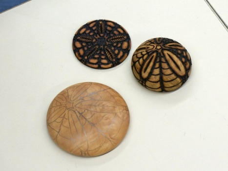 Wood burned urchin patterns