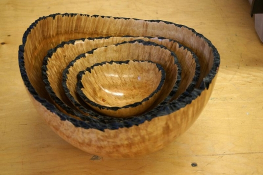 Set in burl wood - edge dyed for drama