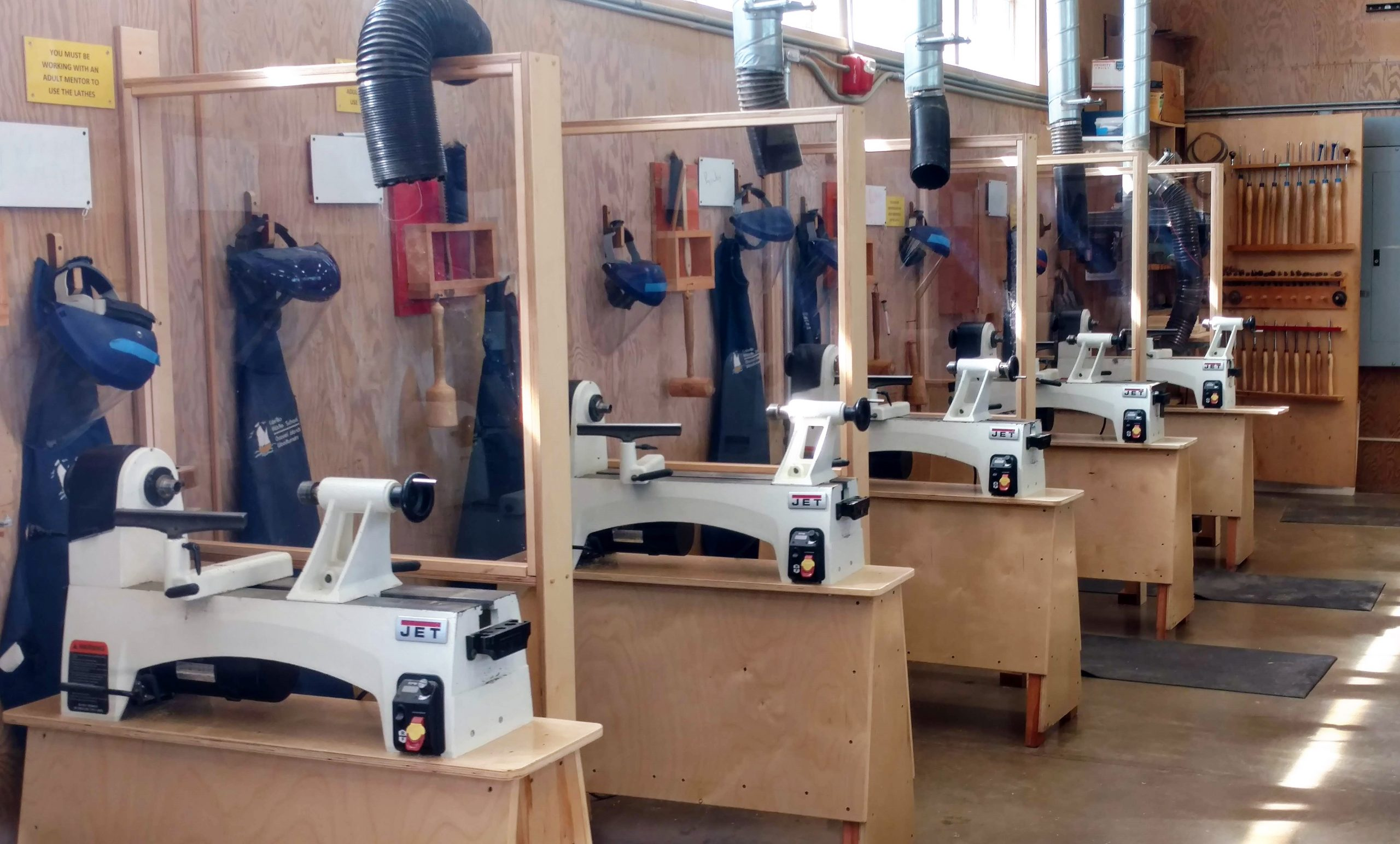 New lathes and stands in the Cabrillo woodshop provided by CIW.