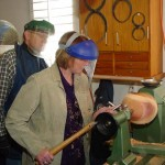 Lynda's 1st time on the lathe practicing with the bowl gouge