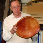 Jim with his large avocado bowl which had been soaked in acetic acid then boiled to try and preserve the natural red color.