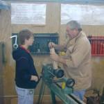 Harvey demonstrating centering spur dirve on spindle