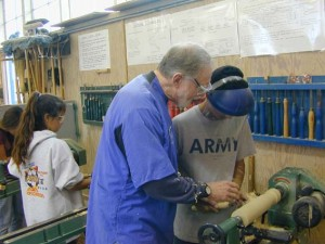Sam helping student layout candlestick
