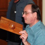 Russ Babbitt holding up his extremely thin rectangular winged bowl that only won an HM at the fair. This was probably the most technically difficult and beautiful piece but not considered unique by the judge.