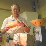 Ron with two end grain turnings made from green wood