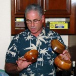 Joel with three avocado bowls he had made for Tim Albers and Mission Produce who provided us with the wood. More members need to contribute to this project to show our appreciation for their support.