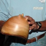 Bruce Berger with a NE avocado bowl that has carved feet. This was taught by John Jordan in a recent demonstration to the club. Bruce says that it took him ten times as long to make the feet as to turn the bowl.