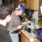David showing Matt how to make a small friction lid box