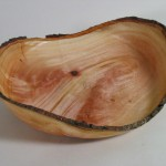 """14"""" diameter avocado crotch wood bowl turned green by David Frank and allowed to warp."""