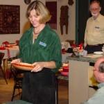 Martha holding Russ Babbitt's SNT orange dyed maple bowl