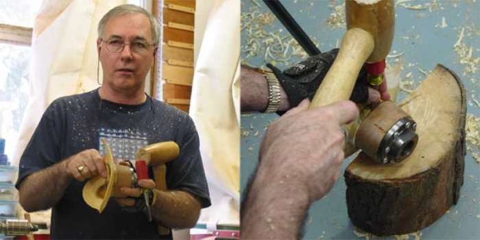 Gently removing the bowl from the glue block with a chisel and mallet.