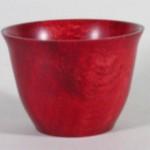 "Jim Rinde - Oak bowl dye with red shoe polish - 4"" H x 5 1/2' Dia."