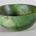 "Jim Rinde - Pine bowl with green dye - 4"" H x 9 1/4"" Dia."