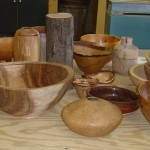 A display of Ron Lindsay's bowls which he used to demonstrate his talk.