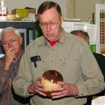 Jim with an end-grain Black Acacia hollow-form which he turned wet, microwaved dry and re-turned