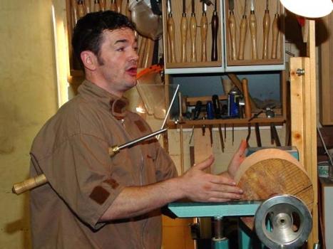 Ash round mounted on lathe