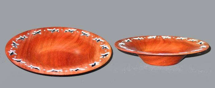 Mahogany bowl with pierced blue 1.75