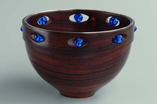 Cocobolo, silver wire, and glass beads 4