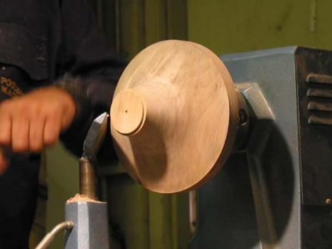 Flairing bowl shape with tenon to be held in scroll chuck