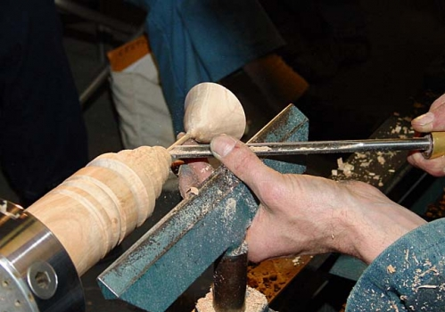 Then maple cylinder used to form long stem goblet. Supported on one end only.