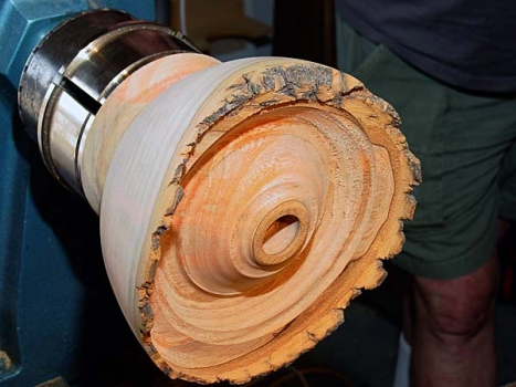 This Ash piece also served to demonstrate the hollowing techniques.