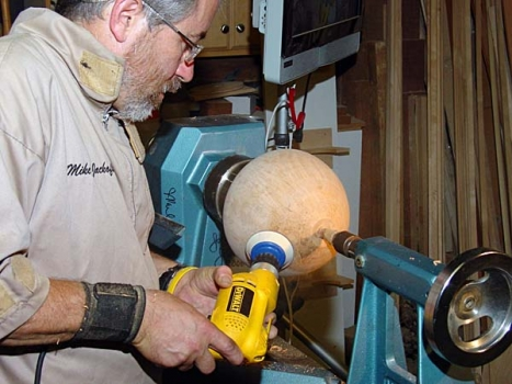 Final power sanding. Mike never hand sands.