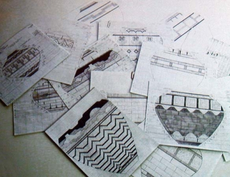 Design layouts in pencil.