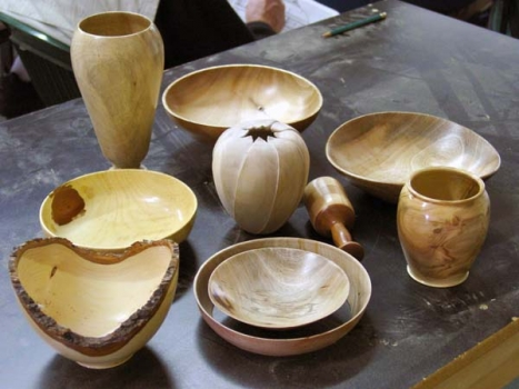 Show and Tell table: Joel did the segmented rattle, also the hollow form carved a la John Jordan.