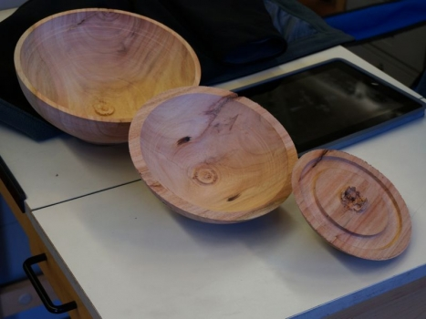 Result of the two cores shown today - wood is dry Eucalyptus. Oskar prefers dry wood.
