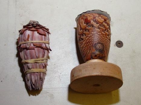 Freeze dried flower ready to epoxy and epoxied pine cone