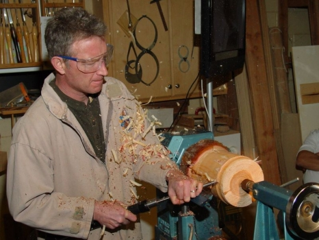 Truing up the blank with gouge pull cut