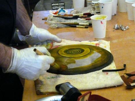 Applying yellow aniline dye