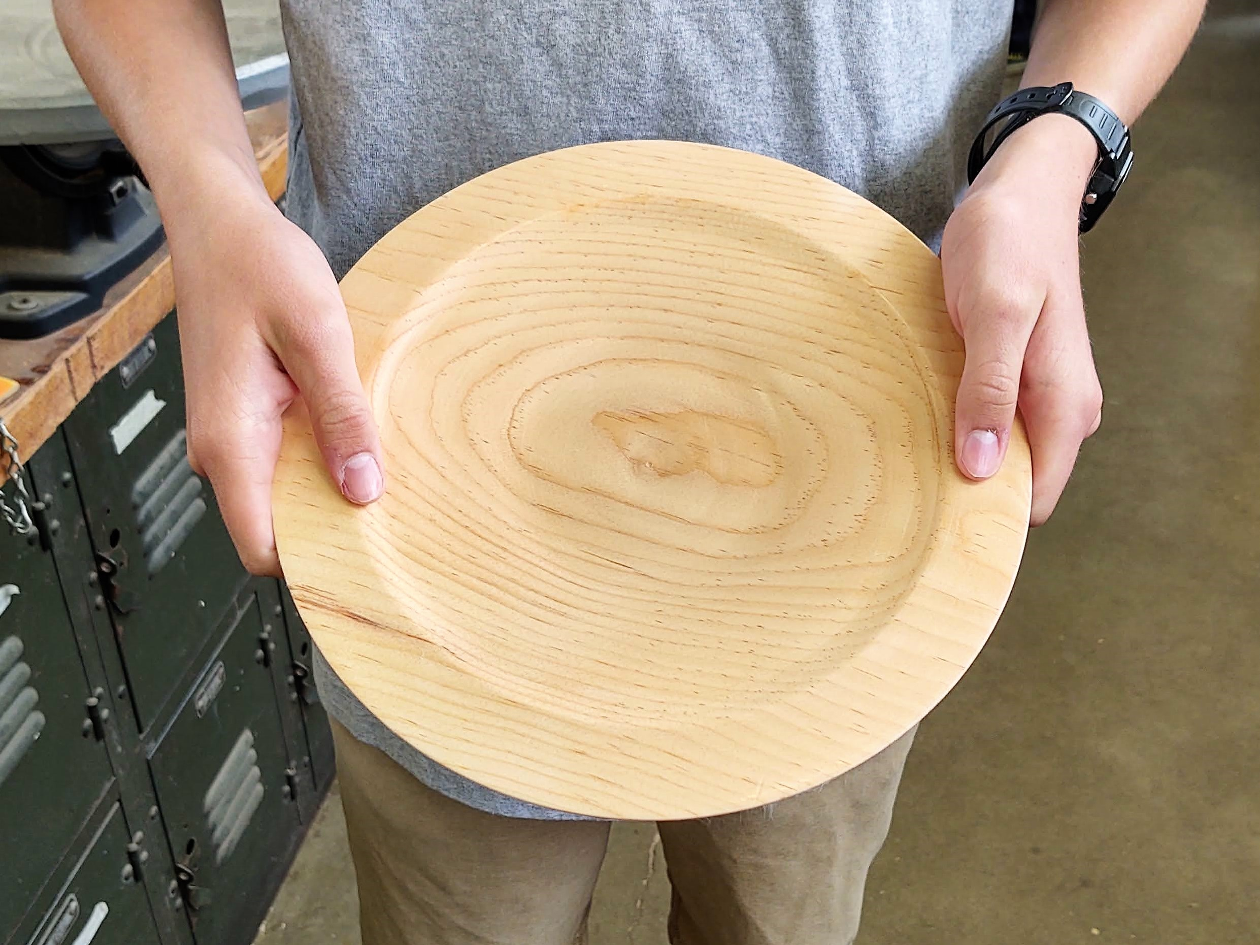 This student made a simple and beautiful platter in woodshop.